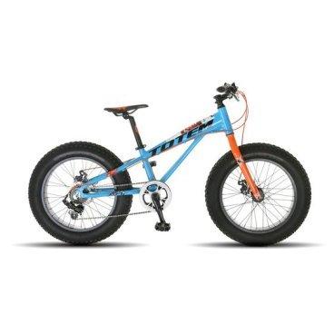 Фэтбайк Totem 2017, сине-оранжевый, детский, колёса 20*4.0, 7 скоростей, T16B803BФэтбайки<br>Рама / FRAME: 11 Алюминий сплав 6061 FAT Bike<br>Вилка / FORK: Алюминиевая, облегченная<br>Манетки / SHIFTER? SHIMANO SL-TX50 7speed<br>Передний переключатель / FRONT DERAILLEUR? Отсутсвует<br>Задний переключатель / REAR DERAILLEUR? SHIMANO RD-TX35<br>Шатуны (с защитой) / CRANKS? MODE GT3-142FP 40T<br>Каретка / BB: NECO B910<br>Кассета / GEAR: 14-28T<br>Цепь / CHAIN? KMC Z33<br>Педали / PEDALS: FEIMIN FP-806B<br>Передняя втулка / FRONT HUB? QUANDO с быстрым зажимом на 32 Спицы<br>Задняя втулка / REAR HUB: QUANDO с быстрым зажимом на 32 Спицы<br>Обода / RIMS: Алюминиевый 32 Спицы<br>Покрышка / TIRES: CHAOYANG Big Daddy H-5176, 20 * 4.0, 120 TPI, фолдинговые, двойной компаунд (2C-MTB)<br>Вынос руля / STEM? MODE MD-HS087A, Алюминий<br>Руль / HANDLEBAR? MODE 600 мм, Сталь<br>Тормоза / BRAKES? Дисковые, Механические<br>Сиденье / SEAT? VADER<br>Подседельный штырь / SEAT POST? Алюминиевый с зажимом, диаметр 30.9 мм, Высота 300 мм<br>Вес кг / weight kg: 14.4<br>Подножка / kickstand: Есть<br>Размер в упаковке сантиметры / size in box cm: 132x27x67<br>