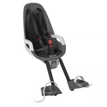 Детское велокресло переднее HAMAX CARESS OBSERVER, серый/белый/черный, 553021Детское велокресло<br>Детское велосипедное кресло Hamax Caress Observer рассчитан на перевозку детей от 9 месяцев и по весу не превышающих 15 кг. Представленное кресло крепится перед рулем.<br>Hamax Caress Observer позволяет ребенку видеть перед собой полную картину происходящего. Установка кресла производится на рулевую колонку. Для крепления предусмотрен специальный кронштейн. Труба должна быть от 22 до 40 мм.<br>Велокресло Hamax удобное, с мягкой вставкой и оборудованное ремнями безопасности. Защелка у ремней надежная. Самостоятельно ребенок не сможет расстегнуть застежку. Опоры для ног регулируются по высоте.<br>Детское велокресло имеет небольшой вес, всего 4,3 кг. Позволяет брать ребенка с собой на велосипедные прогулки.<br>Особенности:<br>Крепление для передней части велосипеда<br>Хороший обзор для ребенка<br>Ремни безопасности<br>Надежный замок<br>Мягкий вкладыш<br>Опоры для ног с регулировкой<br>Крепление для труб от 22 до 40 мм<br>
