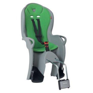 Детское велокресло на подседельную трубу HAMAX KISS, серый/зеленый, 551044Детское велокресло<br>Функциональное и удобное велокресло.  Безопасный и простой монтаж.  Рекомендовано для детей старше 9 месяцев и до 22 кг.  Регулируемый ремень безопасности и опоры.  Пояс-пряжка не может быть открыт ребенком.  Высокая задняя опора. <br>Установка на раму с диаметром трубы 28-40 мм.  Тросики в области крепления не помешают установке.  Hamax рекомендует, что ребенок должен всегда носить шлем при использовании детского сиденья.<br>