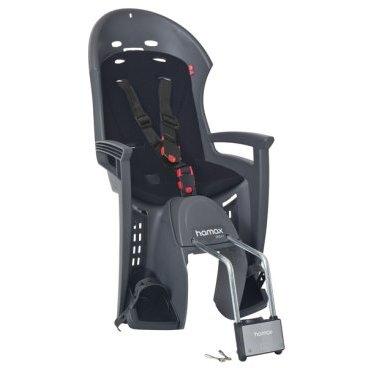 Детское велокресло на подседельную трубу HAMAX SMILEY с запираемым замком, серый/черный, 552033Детское велокресло<br>Эргономичный дизайн с дополнительным местом для шлема<br>Система ремней безопасности крепится в трёх точках и имеет на груди дополнительную застёжку, позволяющую фиксировать ребёнка на сидении в удобном и безопасном положении<br>Регулируемая система подножек и ремней безопасности<br>Может крепиться на велосипед, даже если на нём нет багажника<br>Максимальная нагрузка - 22 кг.<br>Перевозка детей младше 9 месяцев не рекомендуется<br>Надёжность и простота подгонки<br>Крепёжный кронштейн с замком<br>Материал: полипропилен<br>Размер(ШхВхГ): 39.5 x 76 x 35 см.<br>Вес: 3.75 кг.<br>