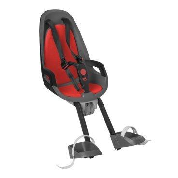 Детское велокресло переднее HAMAX CARESS OBSERVER, серый/красный, 553025Детское велокресло<br>Детское велосипедное кресло Hamax Caress Observer рассчитан на перевозку детей от 9 месяцев и по весу не превышающих 15 кг. Представленное кресло крепится перед рулем. <br>Hamax Caress Observer позволяет ребенку видеть перед собой полную картину происходящего. Установка кресла производится на рулевую колонку. Для крепления предусмотрен специальный кронштейн. Труба должна быть от 22 до 40 мм. <br>Велокресло Hamax удобное, с мягкой вставкой и оборудованное ремнями безопасности. Защелка у ремней надежная. Самостоятельно ребенок не сможет расстегнуть застежку. Опоры для ног регулируются по высоте. <br>Детское велокресло имеет небольшой вес, всего 4,3 кг. Позволяет брать ребенка с собой на велосипедные прогулки. <br>Особенности:<br>Крепление для передней части велосипеда <br>Хороший обзор для ребенка <br>Ремни безопасности <br>Надежный замок <br>Мягкий вкладыш <br>Опоры для ног с регулировкой <br>Крепление для труб от 22 до 40 мм<br>