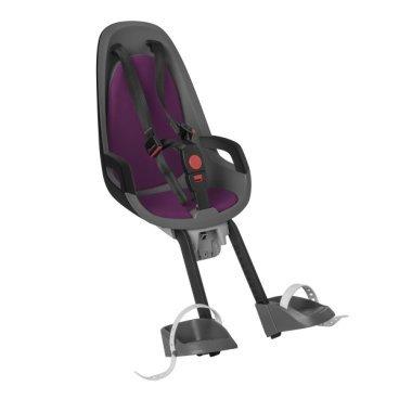 Детское велокресло переднее HAMAX CARESS OBSERVER, серый/фиолетовый, 553026Детское велокресло<br>Детское велосипедное кресло Hamax Caress Observer рассчитан на перевозку детей от 9 месяцев и по весу не превышающих 15 кг. Представленное кресло крепится перед рулем. <br>Hamax Caress Observer позволяет ребенку видеть перед собой полную картину происходящего. Установка кресла производится на рулевую колонку. Для крепления предусмотрен специальный кронштейн. Труба должна быть от 22 до 40 мм. <br>Велокресло Hamax удобное, с мягкой вставкой и оборудованное ремнями безопасности. Защелка у ремней надежная. Самостоятельно ребенок не сможет расстегнуть застежку. Опоры для ног регулируются по высоте.<br>Детское велокресло имеет небольшой вес, всего 4,3 кг. Позволяет брать ребенка с собой на велосипедные прогулки. <br>Особенности: <br>Крепление для передней части велосипеда <br>Хороший обзор для ребенка <br>Ремни безопасности <br>Надежный замок <br>Мягкий вкладыш <br>Опоры для ног с регулировкой <br>Крепление для труб от 22 до 40 мм<br>