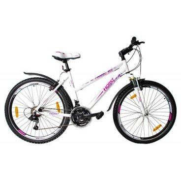 Горный велосипед HORST Blume 26 2017Горные (MTB)<br>Женский горный велосипед HORST BLUME на 26-дюймовых колесах предназначен специально для прекрасной половины человечества. Прочная стальная рама с сильно заниженной верхней трубой позволит легко садиться на велосипед. Амортизационная вилка, 21 скорость и классические 26-дюймовые колеса помогут вам легко передвигаться в любых условиях. Приятный дизайн не останется незамеченным окружающими. Кроме того, велосипед уже укомплектован самыми необходимыми вспомогательными элементами: крыльями на колесах, защищающими вас от грязи, защитным кольцом на ведущих звездах и подножкой для его удобной парковки. Умеренный вес выгодно отличает этот байк от большинства конкурентов. По соотношению цена/качество HORST BLUME на настоящий момент является одним из лучших предложений на рынке.<br><br>Рама (размеры) - Алюминиевая (сплав 6061), низкая женская, колеса 26<br>Вилка-HORST 711B, амортизационная<br>Рулевая колонкаFEIMIN, 1-1/8<br>Руль / выносHORST, ширина 620 мм, стальной / HORST, алюминиевый<br>КареткаYONGLING D-3<br>ЦепьKMC Z33<br>ВтулкиSHUNFENG, 36 отверстий<br>МанеткиShimano Tourney, триггерные<br>Передний переключательSHIMANO TZ30<br>Задний переключательSHIMANO TY21<br>КассетаSHUNFEN, 14-28 зубьев, 7 звезд<br>ТормозаSPARKLE, V-brake, ободные<br>Тормозные ручкиShimano Tourney ST-EF41<br>Система48-38-28 зубьев, 170 мм шатуны<br>Ободадвойные обода, 36 отверстий, алюминиевые<br>ПокрышкиN F51, 26<br>ПедалиFEIMIN, пластмассовые<br>Количество скоростей21<br>