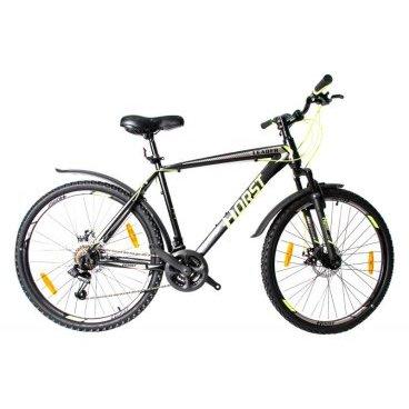 Горный велосипед HORST Leader 26 2017Горные (MTB)<br>Горный велосипед HORST LEADER на 26-дюймовых колесах подойдет тем, кто хочет покорять новые дороги и вершины. Прочная стальная рама, амортизационная вилка, 21 скорость, дисковые тормоза и классические 26-дюймовые колеса – вот черты настоящего вездехода. Кроме того, велосипед уже укомплектован самыми необходимыми вспомогательными элементами: крыльями на колесах, защищающими вас от грязи, и подножкой для его удобной парковки. По соотношению цена/качество HORST LEADER на настоящий момент является одним из лучших предложений с дисковыми тормозами на рынке.<br><br>Модельный год2017<br>Рама (размеры)Стальная (hi-ten), колеса 26<br>ВилкаHORST 715F, амортизационная<br>Рулевая колонкаJINGYE, 1-1/8<br>Руль / выносHORST, ширина 620 мм, стальной / HORST, алюминиевый<br>КареткаYONGLING D-3<br>ЦепьKMC Z33<br>ВтулкиSHUNFENG, 36 отверстий<br>МанеткиShimano Tourney, триггерные<br>Передний переключательSHIMANO TZ30<br>Задний переключательSHIMANO TY21<br>КассетаSHUNFEN, 14-28 зубьев, 7 звезд<br>ТормозаREPUTE DSC-510, дисковые<br>Тормозные ручкиShimano Tourney ST-EF41<br>Система42-32-22 зубьев, 170 мм шатуны<br>Ободадвойные обода, 36 отверстий, алюминиевые<br>ПокрышкиFEIYADA, 26<br>ПедалиFEIMIN, пластмассовые<br>Количество скоростей21<br>