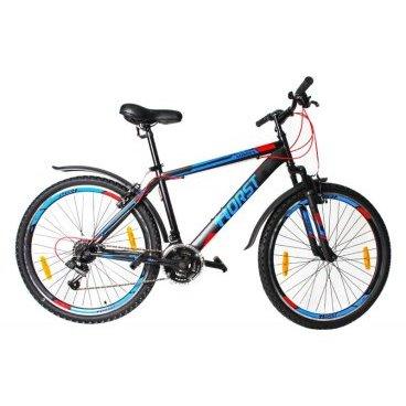 Горный велосипед HORST Norden 26 2017Горные (MTB)<br>Горный велосипед HORST NORDEN подойдет тем, кто хочет покорять новые дороги и вершины. Прочная стальная рама, амортизационная вилка, 21 скорость и классические 26-дюймовые колеса помогут вам легко передвигаться в любых условиях. Яркий дизайн не останется незамеченным окружающими. Кроме того, велосипед уже укомплектован самыми необходимыми вспомогательными элементами: крыльями на колесах, защищающими вас от грязи, и подножкой для его удобной парковки. Умеренный вес выгодно отличает этот байк от большинства конкурентов. По соотношению цена/качество HORST NORDEN на настоящий момент является одним из лучших предложений на рынке.<br>Модельный год2017<br>Рама (размеры)Стальная (hi-ten), колеса 26<br>ВилкаHORST 711B, амортизационная<br>Рулевая колонкаNECO H800K, 1<br>Руль / выносHORST, ширина 600 мм, стальной / HORST, стальной<br>КареткаYONGLING D-3<br>ЦепьKMC Z33<br>ВтулкиSHUNFENG, 36 отверстий<br>МанеткиShimano Tourney, триггерные<br>Передний переключательSHIMANO TZ30<br>Задний переключательSHIMANO TY21<br>КассетаSHUNFEN, 14-28 зубьев, 7 звезд<br>ТормозаSPARKLE, V-brake, ободные<br>Тормозные ручкиShimano Tourney ST-EF41<br>Система42-32-22 зубьев, 170 мм шатуны<br>Ободадвойные обода, 36 отверстий, алюминиевые<br>ПокрышкиFEIYADA, 26<br>ПедалиFEIMIN, пластмассовые<br>Количество скоростей21<br>