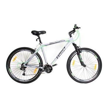 Горный велосипед HORST Rennen 27.5 2017Горные (MTB)<br>Горный велосипед HORST RENNEN построен на прочной и легкой алюминиевой раме в сочетании с амортизационной вилкой и на 27.5-дюймовых колесах (это самый современный размер). 21 передача поможет преодолеть даже самый крутой подъем. Велосипед укомплектован подножкой для его удобной парковки и защитным кольцом на ведущих звездах. Умеренный вес выгодно отличает этот байк от большинства конкурентов.<br>Модельный год2017<br>Рама (размеры)Алюминиевая (сплав 6061), колеса 27,5<br>ВилкаHORST 711B, амортизационная<br>Рулевая колонкаFEIMIN, 1-1/8<br>Руль / выносHORST, ширина 640 мм, стальной / HORST, алюминиевый<br>КареткаNECO B902, картридж<br>ЦепьKMC Z33<br>ВтулкиSHUNFENG, 36 отверстий<br>МанеткиShimano Tourney, триггерные<br>Передний переключательSHIMANO TZ30<br>Задний переключательSHIMANO TY21<br>КассетаSHUNFEN, 14-28 зубьев, 7 звезд<br>ТормозаSPARKLE, V-brake, ободные<br>Тормозные ручкиShimano Tourney ST-EF41<br>Система42-32-22 зубьев, 170 мм шатуны<br>Ободадвойные обода, 36 отверстий, алюминиевые<br>ПокрышкиHONGJIYUAN, 27.5<br>ПедалиFEIMIN, пластмассовые<br>Количество скоростей21<br>