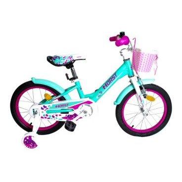 Детский велосипед HORST Nixe 16 2017Детские<br>Детский велосипед HORST NIXE на 16-дюймовых колесах создан специально для начинающих велосипедисток. Дополнительные балансировочные колесики позволят начать ездить на велосипеде самым маленьким, а позже их можно будет снять и ездить на двух колесах. Яркая раскраска не оставят обладательниц равнодушными. А в корзинку всегда можно положить что-то ценное. Благодаря алюминиевой раме, велосипед весьма легок. HORST NIXE рассчитан на 4-6-летних детей.<br>Модельный год2017<br>Рама (размеры)Алюминиевая (сплав 6061), колеса 16<br>ВилкаHORST, жесткая стальная<br>Рулевая колонкаVP, 1-1/8<br>Руль / выносHORST, ширина 480 мм, стальной / HORST, стальной<br>КареткаYONGLING D-3<br>ЦепьKMC C410<br>ВтулкиSHUNFENG, 20 отверстий, ножной тормоз<br>Манетки-<br>Передний переключатель-<br>Задний переключатель-<br>Кассета16 зубьев<br>ТормозаYINCHI, V-brake, ободные<br>Тормозные ручкиYINCHI<br>Система32 зубьев, 114 мм шатуны<br>Обода20 отверстий, алюминиевые<br>ПокрышкиWANDA, 16<br>ПедалиFEIMIN, пластмассовые<br>Количество скоростей1<br>