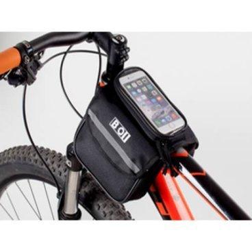 Велосумка MINGDA на верхнюю трубу рамы, 15х11х4,5см, со съёмным отделение для смартфона, 121049Велосумки<br>MINGDA Сумка на верхнюю трубу рамы трёхсекционная 15х11х4,5см (боковая сторона) со съёмным отделением для смартфона 15х7,5х2см, крепление на липучках, материал 600D влагостойкий, светоотражающий логотип<br>