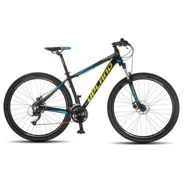 Горный велосипед Upland Vanguard 200-29ER 29 2017Горные (MTB)<br>Upland Vanguard 200<br>Upland Vanguard 200 надежный горный велосипед с колесами 29 дюймов. Велосипед оснащен оборудованием&amp;nbsp; фирмы Shimano, надежными дисковыми механическими тормозами, амортизационной вилкой c ходом 100 мм, масляной пружиной и возможностью ее блокировки. Материал рамы - алюминий, это обеспечивает снижение веса всей конструкции и придает ей необходимую жесткость<br><br><br><br><br>Общие характеристики<br><br><br>Модель<br>2017 года<br><br><br>Тип<br>для взрослых<br><br><br>Область применения<br>Горный<br><br><br>Вес велосипеда<br>13.9 кг<br><br><br>Рама, вилка<br><br><br>Наименование рамы<br>LIGHT ALUMINIUM GW01 TB TAPER<br><br><br>Материал рамы<br>Алюминий<br><br><br>Размеры рамы<br>17.5<br><br><br>Наименование вилки<br>SR SUNTOUR XCT-HLO LOCKOUT<br><br><br>Амортизация<br>Hard tail (с амортизационной вилкой)<br><br><br>Тип вилки<br>масляная<br><br><br>Ход вилки<br>100 мм<br><br><br>Колеса<br><br><br>Диаметр колес<br>29 дюймов<br><br><br>Наименование колес<br>UPLAND 29A W/KT HUBS<br><br><br>Наименование покрышек<br>KENDA 29*2.1<br><br><br>Торможение<br><br><br>Наименование тормоза<br>SHIMANO BR-TX805<br><br><br>Тип тормоза<br>дисковый механический<br><br><br>Уровень тормоза<br>прогулочный<br><br><br>Трансмиссия<br><br><br>Количество скоростей<br>27<br><br><br>Уровень переключателя<br>прогулочный<br><br><br>Наименование заднего переключателя<br>SHIMANO RD-M370<br><br><br>Наименование переднего переключателя<br>SHIMANO FD-M370<br><br><br>Уровень манеток<br>прогулочный<br><br><br>Наименование манеток<br>SHIMANO ST-EF51-27<br><br><br>Система<br>UPLAND W/CG 44/32/22<br><br><br>Тип посадочной части вала каретки<br>Квадрат<br><br><br>Количество звезд системы<br>3, число зубьев 44-32-22<br><br><br>Конструкция педалей<br>классическая<br><br><br>Руль<br><br><br>Наименование руля<br>Upland HB024<br><br><br>Конструкция руля<br>прямой<br><br><br>Вынос<br>Upland HS003<br><br><br>Седло<br><br>