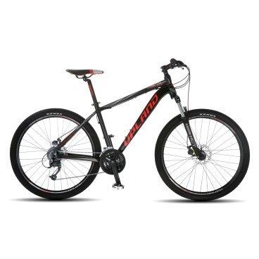 Горный велосипед Upland Vanguard 200-650B 27.5 2017Горные (MTB)<br>Upland Vanguard 200<br>Upland Vanguard 200 надежный горный велосипед с колесами 27.5 дюймов. Велосипед оснащен оборудованием&amp;nbsp; фирмы Shimano, надежными дисковыми механическими тормозами, амортизационной вилкой c ходом 100 мм, масляной пружиной и возможностью ее блокировки. Материал рамы - алюминий, это обеспечивает снижение веса всей конструкции и придает ей необходимую жесткость<br><br><br><br><br>Общие характеристики<br><br><br>Модель<br>2017 года<br><br><br>Тип<br>для взрослых<br><br><br>Область применения<br>Горный<br><br><br>Вес велосипеда<br>13.9 кг<br><br><br>Рама, вилка<br><br><br>Наименование рамы<br>LIGHT ALUMINIUM GW01 TB TAPER<br><br><br>Материал рамы<br>Алюминий<br><br><br>Размеры рамы<br>17.5<br><br><br>Наименование вилки<br>SR SUNTOUR XCT-HLO LOCKOUT<br><br><br>Амортизация<br>Hard tail (с амортизационной вилкой)<br><br><br>Тип вилки<br>масляная<br><br><br>Ход вилки<br>100 мм<br><br><br>Колеса<br><br><br>Диаметр колес<br>29 дюймов<br><br><br>Наименование колес<br>UPLAND 29A W/KT HUBS<br><br><br>Наименование покрышек<br>KENDA 27.5*2.1<br><br><br>Торможение<br><br><br>Наименование тормоза<br>SHIMANO BR-TX805<br><br><br>Тип тормоза<br>дисковый механический<br><br><br>Уровень тормоза<br>прогулочный<br><br><br>Трансмиссия<br><br><br>Количество скоростей<br>27<br><br><br>Уровень переключателя<br>прогулочный<br><br><br>Наименование заднего переключателя<br>SHIMANO RD-M370<br><br><br>Наименование переднего переключателя<br>SHIMANO FD-M370<br><br><br>Уровень манеток<br>прогулочный<br><br><br>Наименование манеток<br>SHIMANO ST-EF51-27<br><br><br>Система<br>UPLAND W/CG 44/32/22<br><br><br>Тип посадочной части вала каретки<br>Квадрат<br><br><br>Количество звезд системы<br>3, число зубьев 44-32-22<br><br><br>Конструкция педалей<br>классическая<br><br><br>Руль<br><br><br>Наименование руля<br>Upland HB024<br><br><br>Конструкция руля<br>прямой<br><br><br>Вынос<br>Upland HS003<br><br><br>Седло<b
