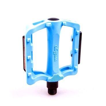 Педали велосипедные WELLGO нейлон BMX/Downhill  Blue B197N широкие, ось Cr-Mo 320г 6-14193Педали для велосипедов<br>NEW, с шарикоподшипниками, широкие, ось - высокопрочный хром-молибденовый сплав, 106*90*31.7мм, 300г/пара, резьба 9/16,  синие<br>