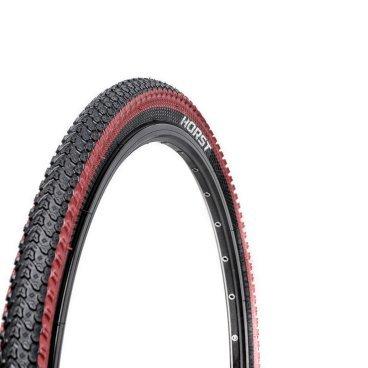 Велопокрышка HORST PQ-817, для MTB, 26x2.125 (54-559), 30 TPI, высокий, черной-красная, 00-001080Велопокрышки<br>Велопокрышки Horst предназначены как для продвинутых, так и для начинающих велосипедистов. Каждое изделие, на котором ставится клеймо Horst, продумано до мелочей. Все разработки Horst воплощаются с учетом новых веяний дизайна и велосипедной моды, в производстве применяются самые современные материалы, а производственный процесс постоянно контролируется для сохранения высокого качества продукции. <br><br>Велосипедная покрышка HORST PQ-817<br>Размер: 26x2.125 (54-559)<br>30 TPI<br>Высокий протектор<br>Внедорожная<br>
