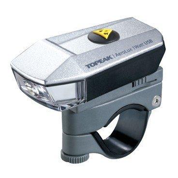 Фара Topeak AeroLux 1Watt USB, с креплением на руль и на шлем, TMS072Фары и фонари для велосипеда<br>Яркая передня фара с LED мощностью 1W и встроенным аккумулятором, заряжающемся от USB-порта.<br><br>Универсальное крепление: вы можете установить Topeak AeroLux 1Watt на руль велосипеда, велошлем, или использовать в качестве ручного фонарика. Мощный встроенный аккумулятор обеспечит два часа непрерывной работы при максимальном потреблении энергии, а в режиме 0.5W - до 4 часов. Установка без инструментов.<br><br>Батареявстроенный аккумулятор 3.7V 700 mAh Lithium Ion<br>Время работы2ч - 1W / 4ч - 0.5W / 72ч - мигание<br>Интенсивность100 Lumens<br>45Lux / 5M<br>КреплениеШлем (резинки)<br>Руль (?25.4 - ?33 mm)<br>Масса53 г<br>Размеры7 x 3.8 x 2.6 см<br>