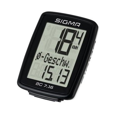 Велокомпьютер SIGMA BC 7.16, 7 функций, проводной, 07160Велокомпьютеры<br>В дополнение к стандартным функциям BC 7.16 отображает общее время поездки и среднюю скорость на маршруте. Большой дисплей, спортивный дизайн - устройство станет приятным спутником каждой вашей поездки. Модель доступна как в варианте проводной, так и беспроводной АТС-связи. <br>Типпроводные<br>Подсветканет<br>Элемент питанияCR2032 сменная батарея<br> - велокомпьютер Sigma BC 7.16<br> - проводная база с датчиком скорости<br> - магнит<br> - крепежные кольца<br> - руководство пользователя<br>Семь функций<br><br>В дополнение к основным функциям ВС 7.16 вычисляет среднюю скорость и показывает общее время поездки. Большой экран и аккуратный обтекаемый дизайн будут отлично смотреться на любом велосипеде.<br>