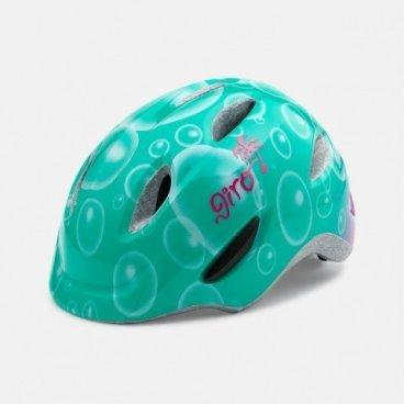 Велосипедный шлем Giro 16 SCAMP,  детский, глянцевый бирюзовый/пузырьки,  размер XS, GI7067949Велошлемы<br>Шлем Giro 16 SCAMP детский глянцевы бирюзовый/пузырьки размер XS<br>Шлем Giro SCAMP обладает удивительными качествами, некоторые анлогичны шлемам для взрослых. Система Roc Loc® Jr. с системой защиты от защемления обеспечивает легкий и быстрый способ надевания шлема.  Размеры: XS (45-49 см),<br>