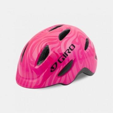 Велосипдный шлем Giro 17 SCAMP,  детский, глянцевый розовый/завитки,  размер S, GI7075751Велошлемы<br>Шлем Giro 17 SCAMP детский глянцевый розовый/завитки размер S.<br>Шлем Giro SCAMP обладает удивительными качествами, некоторые анлогичны шлемам для взрослых. Система Roc Loc® Jr. с системой защиты от защемления обеспечивает легкий и быстрый способ надевания шлема. Размеры: S (49-53 см).<br>