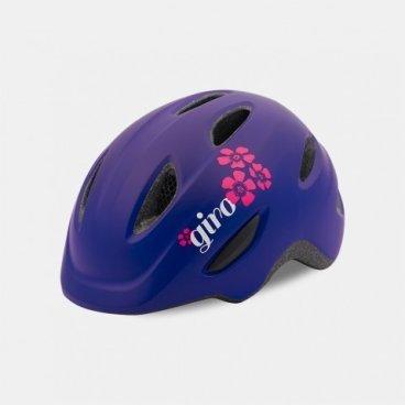 Велосипедный шлем Giro 17 SCAMP, детский, матовый, фиолетовый/цветы,  размер XS, GI7075744Велошлемы<br>Шлем Giro 17 SCAMP детский матовый фиолетовый/цветы размер S.<br>Шлем Giro SCAMP обладает удивительными качествами, некоторые анлогичны шлемам для взрослых. Система Roc Loc® Jr. с системой защиты от защемления обеспечивает легкий и быстрый способ надевания шлема. Размеры: XS (45-49см),<br>