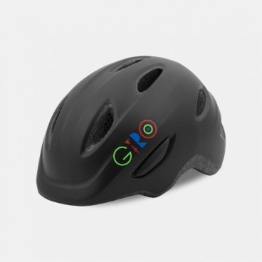 Велосипедный шлем Giro 17 SCAMP,  детский, матовый черный/логотип, размер S, GI7075739Велошлемы<br>Шлем Giro 17 SCAMP детский матовый черный/логотип размер S.<br>Шлем Giro SCAMP обладает удивительными качествами, некоторые анлогичны шлемам для взрослых. Система Roc Loc® Jr. с системой защиты от защемления обеспечивает легкий и быстрый способ надевания шлема. Размеры:  S (49-53 см)<br>