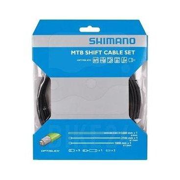 Трос+оплетка Shimano, OPTISLICK, 1,2ммX2100/1800мм, оплетка SP413000мм, концевики/пыльники,Y60198090Тросики и Рубашки<br>Трос+оплетка  OPTISLICK, 1,2мм X2100/1800мм, оплетка SP41 3000 мм концевики/пыльники.<br>Фирма производитель Shimano. <br>Набор включает в себя наружные оболочки с длиной 3300 мм для переднего и заднего переключателя.<br>Герметичные наружные крышки защищают внутренние кабели от грязи и воды и гарантирует длительную свободу передвижения. <br>Внутренние кабели сдвига имеют минималистичный электрический слой с нанесенным покрытием, что улучшает эргономичность и уменьшает сдвигающие силы на 20%. <br>Еще одним преимуществом технологии OPTISLICK является высокой степенью защиты от коррозии<br>