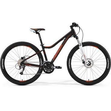 Горный велосипед Merida Juliet 7.40-D 2017Горные (MTB)<br>Женский горный велосипед с оборудованием любительского класса Shimano, 27 скоростей. Технические особенности: алюминиевая рама Juliet Speed 7, амортизационная вилка SR Suntour 27 XCM HLO, двойные обода Merida Big 7 D, дисковые гидравлические тормоза Tektro MA-lady hydraulic. Подходит для активной езды по различным дорогам и пересеченной местности. Диаметр колес - 27,5 дюймов. Вес - 14,8 кг.<br>Модельный год2017<br>Применениегорный (MTB)<br>горный (кросс-кантри)<br>Возрастная группавзрослый<br>Типженский<br><br><br>Рама и амортизация<br><br>Материал рамыалюминий / 6061 /<br>Амортизацияпередняя вилка<br>Тип амортизации (вилка)пружинно-масляная / SR Suntour XCM HLO /<br>Ход вилки100 мм<br>Локаут вилки / гидравлический /<br><br><br>Колеса и тормоза<br>Диаметр колес27.5 <br>Модель покрышекMerida Race / 2.1 /<br>Материал ободаалюминий / Merida Big 7 Comp D /<br>Ободдвойной<br>Передний тормоздисковый гидравлический / Tektro MA, ротор 160 мм /<br>Задний тормоздисковый гидравлический / Tektro MA, ротор 160 мм /<br>Модель передней втулкиFormula Disc<br>Модель задней втулкиFormula Disc<br>Руль и трансмиссия<br>Скоростей27 шт<br>Звёзд системы3 / шатун: SR Suntour XCM, 44-32-22Т /<br>Звёзд кассеты9<br>Модель кассетыSunrace CS<br>Передний переключательShimano Altus / M370 /<br>Задний переключательShimano Altus<br>Тип манеткитриггерные<br>Модель манеткиShimano Altus<br>Форма руляпрямой<br>ВыносMerida Comp OS 15<br>Модель руляMerida Speed R30 / длина - 640 мм /<br><br><br>Общее<br>Комплектациящиток на цепь<br>Модель сиденьяJuliet Sport<br>Вес14.8 кг<br>