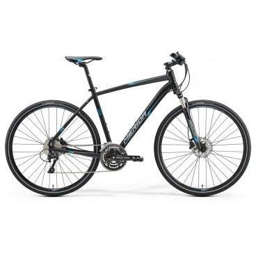 Горный велосипед Merida Crossway 500 2017Горные (MTB)<br>Для комфортных и быстрых поездок по городу лучше всего подходят гибриды, и данная модель является отличным представителем в данном классе. Велосипед Merida CROSSWAY 500 2017 года выпуска соединяет в себе все плюсы горных и шоссейных байков. Это уникальное сочетание позволяет передвигаться быстрее, но с более классической посадкой. Рама, сделанная из алюминиевого сплава, наделена удачной геометрией, что дает великолепную управляемость и хороший накат. Все сделано так, чтобы водитель сидел с небольшим наклоном вперед. Это позволяет не перегружать спину и легко контролировать поведение железного коня. Колеса диаметром 28 дюймов определяют среду обитания, потому что лучше всего подходят для езды по асфальту, позволяя развивать высокую скорость. Но в парке тоже можно чувствовать себя уверенно, так как есть короткоходный амортизатор, который легко погасит незначительные неровности грунтовой дороги. В движение он приводится классной системой и переключателями, где есть 30 скоростей. Такого диапазона хватит для любых задач, а в надежности не приходится сомневаться, так как переключатели сделаны фирмой Shimano. Дисковые гидравлические тормоза дают лучшее замедление, по сравнению с аналогами, делая поездки более безопасными.<br>Общие данные<br>блокировка амортизаторада<br>вес13.07 кг<br>Год2017<br>ГрипсыCrossway Ergo<br>диаметр колеса28<br>длина хода вилкидо 100 мм<br>защита звёзд/цепиAttached<br>ЛинейкаCrossway<br>планетарная втулканет<br>полмужской<br>СерияCrossway<br>тип амортизационная вилкипружинно-масляная<br>уровень оборудованияпрофессиональный<br>хомут подседельного штыряMerida pro QR<br>Рама и амортизаторы<br>ВилкаSR NCX D-RL, ход 63 мм<br>Задний переключательShimano XT-T<br>КареткаCartridge Bearing<br>КассетаShimano CS-HG500-10, 11-34T<br>Количество скоростей30<br>МанеткиShimano Deore<br>Материал рамыалюминий<br>ПедалиComfort Alloy triple<br>Передний переключательShimano Deore-48<br>Размер рамы21.5<br>РамаCros