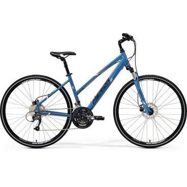 Горный велосипед Merida Crossway 40-D Lady 2017Женские<br>Женский велосипед Merida Crossway 40-D-lady (2017) – это спортивная модель высокого класса комфорта. В равной степени подходит для городских и просёлочных дорог, для пересечённой местности. Задний переключатель на 27 скоростей помогает выбрать нужную передачу и сделать ход велосипеда Merida Crossway 40-D-lady оптимальным. Рама изготовлена из алюминиевого сплава и имеет специальное покрытие, защищающее от коррозии, как и другие элементы велосипеда. Для Merida Crossway 40-D-lady характерна хорошая амортизация, гидравлические тормоза гарантируют мгновенную остановку. Модель является хорошим выбором для тех, кто ездит по разным типам дорог.<br>Основное<br>Модельный год2017<br>Применениегорный (кросс-кантри)<br>Возрастная группавзрослый<br>Типженский<br><br><br>Рама и амортизация<br><br>Материал рамыалюминий / 6061 /<br>Амортизацияпередняя вилка<br>Тип амортизации (вилка)пружинно-масляная / SR Suntour NEX-HLO /<br>Ход вилки63 мм<br>Локаут вилки / гидравлический /<br>Подседельная амортизация<br><br><br>Колеса и тормоза<br>Диаметр колес28 <br>Модель покрышекCross<br>Материал ободаалюминий / Merida D /<br>Обод двойной<br>Передний тормоздисковый гидравлический / Tektro TA, ротор 160 мм /<br>Задний тормоздисковый гидравлический / Tektro TA, ротор 160 мм /<br>Руль и трансмиссия<br>Скоростей27 шт<br>Звёзд системы3 / шатун: SR Suntour XCM, 48-36-26Т /<br>Звёзд кассеты9<br>Модель кассетыSunrace<br>Передний переключательShimano Altus / M371 /<br>Задний переключательShimano Altus<br>Тип манеткитриггерные<br>Модель манеткиShimano Altus<br>Форма руляпрямой<br>Регулировка выноса руля<br>Модель руляMerida Comp / длина - 660 мм /<br><br><br>Общее<br>Комплектациящиток на цепь<br>Модель сиденьяCross Lady<br>Вес14.6 кг<br>