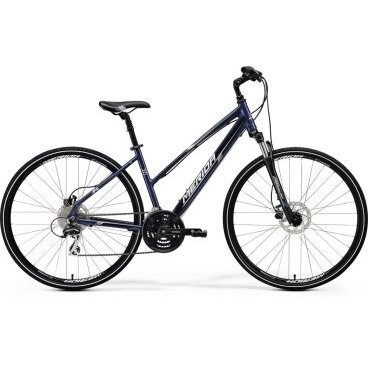 Горный велосипед Merida Crossway 20-D Lady 2017Женские<br>Яркий и современный городской велосипед Merida Crossway 20-D-lady для настоящих поклонниц быстрой езды и физических упражнений. Оснащен 24-скоростной трансмиссией, которая позволяет демонстрировать непревзойденный уровень передвижения, и дисковыми гидравлическими тормозами, с помощью чего мгновенная остановка вам гарантирована. Не оставляет без внимания и легкая конструкция рамы, выполненная на основе сверхпрочного алюминиевого материала, что делает байк износостойким и максимально маневренным.<br>Основное<br>Модельный год 2017<br>Применение горный (кросс-кантри)<br>Возрастная группа взрослый<br>Тип женский<br><br><br>Рама и амортизация<br><br>Материал рамы алюминий<br>Амортизация передняя вилка<br>Тип амортизации (вилка) пружинно-масляная / SR Suntour NEX HLO /<br>Ход вилки 63 мм<br>Локаут вилки  / гидравлический /<br>Подседельная амортизация <br><br><br>Колеса и тормоза<br>Диаметр колес 28 <br>Модель покрышек Cross<br>Материал обода алюминий / Merida D /<br>Обод двойной<br>Передний тормоз дисковый гидравлический / Tektro TA, ротор 160 мм /<br>Задний тормоз дисковый гидравлический / Tektro TA, ротор 160 мм /<br>Руль и трансмиссия<br>Скоростей 24 шт<br>Звёзд системы 3 / шатун: Shimano TY301, 48-38-28T /<br>Звёзд кассеты 8<br>Модель кассеты Sunrace<br>Передний переключатель Shimano Tourney<br>Задний переключатель Shimano Acera<br>Тип манетки триггерные<br>Модель манетки Shimano Altus<br>Форма руля прямой<br>Регулировка выноса руля <br>Модель руля Merida Comp / длина - 660 мм /<br><br><br>Общее<br>Комплектация щиток на цепь<br>Модель сиденья Cross Lady<br>Вес 15.1 кг<br>