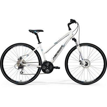 Горный велосипед Merida Crossway 20-MD Lady 2017Женские<br>Для комфортной и быстрой поездки по городу лучше всего подходят гибриды. Велосипед Merida CROSSWAY 20-MD LADY 2017 модельного года является одним из лучших представителей данного сегмента, в своем ценовом диапазоне. Чтобы предоставить максимум управляемости, легкой алюминиевой раме придали соответствующую геометрию. Так как модель предназначена для женской части населения, установлено достаточно широкое и мягкое сиденье, а расстояния до руля несколько короче. Учитывая возможность регулировки по углу наклона выноса руля, найти комфортную посадку очень просто. Большие колеса диаметром 28 дюймов предназначены для ровных дорог, поэтому позволяют поддерживать высокую скорость движения, но они совсем не любят неровности. Чтобы демпфировать удары, решили установить в подседельный штырь амортизатор. Для системы взяли привод на 24 передачи от известной фирмы Shimano, которая давно заслужила доверие. А для более эффективного торможения, поставили дисковую механику.<br><br>Рама и амортизаторы<br><br>РамаCrossway Speed-D-lady<br>ВилкаSR NEX HLO 63<br>Вес всего велосипеда<br>Цепная передача<br><br>МанеткиShimano EZ fire 8<br>Передний переключательShimano TY8s 48<br>Задний переключательShimano Acera-X 8<br>КареткаCartridge Bearing<br>КассетаSunrace CS8 11-32<br>Количество скоростей24<br>ЦепьChain 8s<br>ПедалиComfort double<br>Колеса<br><br>ОбодаMerida D<br>Спицыucp steel<br>ВтулкаAlloy Disc<br>ПокрышкаCross 700 40C<br>Компоненты<br><br>Передний тормозPromax MTD Mechanical 160<br>Задний тормозPromax MTD Mechanical 160<br>ГрипсыMERIDA kraton<br>РульMERIDA Comp 660 R25<br>Рулевая колонкаThread Conoid<br>СедлоCross lady<br>Подседельный штырьSuspension 27.2<br>РазработкаТайвань<br>ПроизводствоКНР (Тайвань)<br>