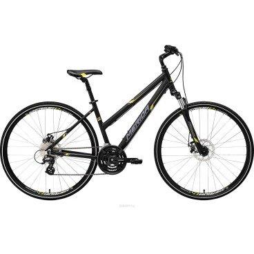 Горный велосипед Merida Crossway 15-MD Lady 2017Женские<br>Женский велосипед Merida Crossway 15-MD-lady 2017 года выпускается в размерах от 16 до 24 дюймов, что подойдет как невысоким женщинам, так и женщинам модельного роста. У велосипеда Merida Crossway 15-MD-lady гибридный тип, на нем можно комфортно ездить по городу и по загородным грунтовым дорогам. Тормоза отлично срабатывают на нажатие, но при этом не стремятся полностью заблокировать колеса. Это удобно при торможении на высоких скоростях. Посадка Merida Crossway 15-MD-lady - на 30 градусов, вынос руля можно регулировать, как и его высоту. Подседельный штырь амортизирует дорогу вместе с пружинно-эластомерной вилкой.<br>Рама и амортизаторы<br><br>РамаCrossway DT-D<br>ВилкаSR NEX 63<br>Вес всего велосипеда<br>Цепная передача<br><br>МанеткиShimano EZ fire 8<br>Передний переключательShimano TY8s 48<br>Задний переключательShimano Altus 8<br>КареткаCartridge Bearing<br>КассетаSunrace CS8 11-32<br>Количество скоростей24<br>ЦепьChain 8s<br>ПедалиPP pedal<br>Колеса<br><br>Диаметр28.0<br>ОбодаMerida D<br>Спицыucp steel<br>ВтулкаAlloy Disc<br>ПокрышкаCross 700 40C<br>Компоненты<br><br>Передний тормозJACK Mechanical 160<br>Задний тормозJACK Mechanical 160<br>ГрипсыMERIDA kraton<br>РульMERIDA Comp 660 R25<br>Рулевая колонкаThread set<br>СедлоCross lady<br>Подседельный штырьSuspension 27.2<br>РазработкаТайвань<br>ПроизводствоКНР (Тайвань)<br>