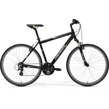 Горный велосипед Merida Crossway 10-V 2017Городские<br>Merida Crossway 10-V - кроссовый велосипед начального уровня по недорогой цене. Колеса 28 дюймов (622/700), алюминиевая рама. Гибридный велосипед Merida Crossway 10-V подойдет для катания по асфальту в городской среде. Если Вы катаете в большей мере по асфальту на большие расстояния, тогда выбирайте велосипеды Merida Crossway Рама изготовлена из алюминиевого сплава RACELITE 61 ALUMINIUM 2017, амортизационная вилка SR Suntour NEX с ходом 63 мм, также установлено оборудование Shimano начального уровня 3х7. Качественный кроссовый велосипед Merida Crossway 10-V 2017 года, цветовое оформление matt black (green/grey). <br>Модельный год2017<br>Применениегорный (кросс-кантри)<br>Возрастная группавзрослый<br>Типмужской<br><br><br>Рама и амортизация<br><br>Материал рамыалюминий<br>Амортизацияпередняя вилка<br>Тип амортизации (вилка)пружинно-эластомерная / Suntour SR NEX /<br>Ход вилки63 мм<br>Подседельная амортизация<br><br><br>Колеса и тормоза<br>Диаметр колес28 <br>Модель покрышекCross<br>Материал ободаалюминий / Merida V /<br>Ободдвойной<br>Передний тормозободной механический (V-brake)<br>Задний тормозободной механический (V-brake)<br>Руль и трансмиссия<br>Скоростей21 шт<br>Звёзд системы3 / шатун: Shimano M131, 48-38-28Т /<br>Звёзд кассеты7<br>Модель кассетыShimano Tourney / TZ21 /<br>Передний переключательShimano Tourney<br>Задний переключательShimano Altus<br>Тип манеткитриггерные<br>Модель манеткиShimano Tourney / EF41 /<br>Форма руляпрямой<br>Регулировка выноса руля<br><br><br>Общее<br>Комплектациящиток на цепь<br>Модель сиденьяCross Sport<br>Вес14.7 кг<br>