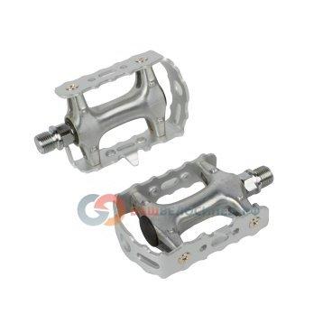 Педали велосипедные алюминиевые серебристые 5-311024Педали для велосипедов<br>со съемным алюминиевым ободом, ось - высокопрочный хром-молибденовый сплав, герметичные подшипники, 346г/пара, резьба 9/16, серебристые<br>