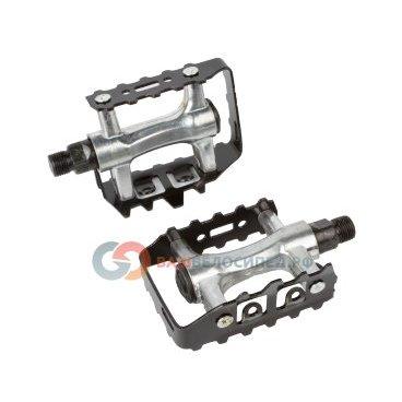 Педали велосипедные алюминиевые серебристо-черные 5-311049Педали для велосипедов<br>со съемным алюминиевым ободом, 318г/пара, резьба 9/16, серебристо-черные<br>