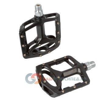 Педали велосипедные алюминиевые литые широкие, со  сменными шипами черные 5-311326Педали для велосипедов<br>NEW, оригинальный дизайн, литые, широкие, со сменными шипами, герметичная ось из высокопрочного хром-молибденового сплава, 376г/пара, резьба 9/16, черные<br>
