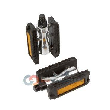 Педали велосипедные алюминиевый с резиновым ободом герметичная ось с отражателями 5-312136Педали для велосипедов<br>Педали <br>- Материал: алюминиевый <br>- С резиновым ободом герметичная ось<br>- С отражателями<br>- Цвет: серебристо-черные<br>