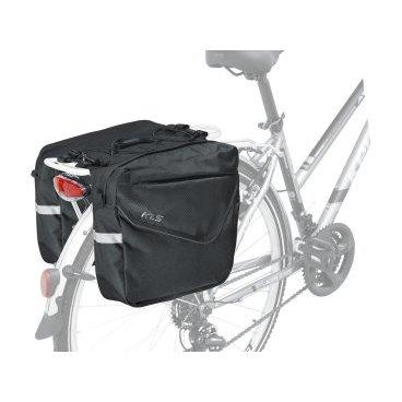 Велосумка на багажник KELLYS, ADVENTURE 20, объем: 20л, цвет черный.Велосумки<br>KELLYS Сумка на багажник ADVENTURE 20, <br> Объем 20л, <br>Цвет черный.<br>Тип сумки: На багажник<br>Секрет заключается в том, что эту сумку можно разложить. И тогда она превращается в объемную и вместительную туристическую сумку. Раскладываются боковые карманы и вехний отсек.<br>С таким баулом можно отправиться в поход с ночевкой!  <br><br>Сверху сумки находятся резинки-стяжки. Туда  можно закрепить вещи,  которые могут пригодиться в пути, например, теплую кофту или ветровку.<br>