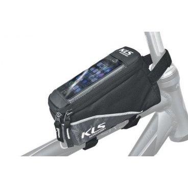 Сумка на верхнюю трубу рамы KELLYS  ALPHA, 0,9л, крепление на липучке, окошко для смартфонаВелосумки<br>KELLYS Сумка на верхнюю трубу рамы ALPHA, 0,9л, крепление на липучке,  окошко для смартфона.<br>Сумка с креплением на верхнюю трубу KLS Radian. <br>Сумка изготовлена из водостойкого материала - полиэстера. <br>Основное отделение на молнии для разнообразного мелочи и верхняя прозрачный карман для смартфона. <br>Быстрое крепление на верхнюю трубу рамы с помощью 3 петель на липучке. <br>Сумка имеет светоотражающие полоски. <br>Размеры: <br>длина -17см, <br>ширина - 8 см. <br>Высота спереди 9 см, сзади--7 см. 7х 15см -окошко для телефона. <br>Объем: 1 л.<br>