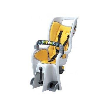 Детское кресло с багажником BabySeat II TOPEAK, под колесо 26 V-brake, цвет кресла жёлтый, TCS2204Детское велокресло<br>Детское велокресло Topeak Baby Seat II с багажником, 26, 27.5 (650B) &amp; 700C, V-brake, жёлтое. Максимальный вес до 22 кг. Подходит к большинству типов велосипедов. Кресло оснащено двумя амортизаторами для поглощения ударов и неровностей дороги. Багажник совместим с дисковыми тормозами.<br><br>Особенности:<br><br>велокресло оснащено двумя амортизаторами для поглощения ударов неровной дороги<br>лёгкосъёмный механизм с дополнительным надежным фиксатором<br>мягкая прокладка<br>шеститочечный ремень безопасности с регулировкой по высоте и длине<br>защита ног от попадания в спицы<br>легкая регулировка подставок для ног на эксцентрике с шагом 0,5 см<br>передний поручень безопасности в мягком чехле (Поручень удерживает самых маленьких в правильном положении, за него им удобно держаться, а ещё к нему можно подвесить любимые игрушки, чтобы в дороге крохе не было скучно)<br>эргономическая форма сидения создана чтобы обезопасить ребёнка от боковых ударов<br>светоотражатель на спинке сидения<br>отверстия в спинке сидения для вентиляции<br>отверстие в верхней части спинки для удобного расположения шлема на голове сидящего ребенка<br>кресло соответствует европейским стандартам безопасности<br>Все это позволит Вашему малышу путешествовать с большим комфортом рядом с Вами<br><br>Цвет: Желтый<br>Материал: Пластик/алюминий<br>Размеры кресла (ДхШхВ): 58,8х39,5х77,4 см<br>Размеры багажника (ДхШхВ): 34х23х40 см<br>Допустимый вес ребенка: 22 кг<br>Допустимый вес для багажника: 25 кг<br>Вес велокресла: 3130 г<br>Вес багажника: 580 г<br>