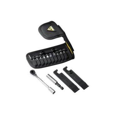 Набор инструментов Topeak Ratchet Rocket Lite DX 12, TT2524Велоинструменты<br>Полный набор самого необходимого инструмента с трещеткой в компактном чехле. Topeak Ratchet Rocket Lite DX включает двустороннюю трещетку и насадки.<br><br>Количество инструментов (функций) - 15<br>Шестигранники - 2/2.5/3/4/5/6/8 мм<br>Torx® - T10/T25<br>Монтажки безопасные, пластиковые<br>Отвертки - Phillips (крестовая)<br><br>Дополнительные функции<br>- магнитное крепление насадок<br><br>Материал инструмента - высокопрочная сталь CrV<br>Материал трещетки - CrV<br>Чехол из нейлона<br><br><br>Размеры - (Д x Ш x В) 12 x 6.3 x 2.5 см<br>Вес - 155 гр (включая бокс для хранения)<br>