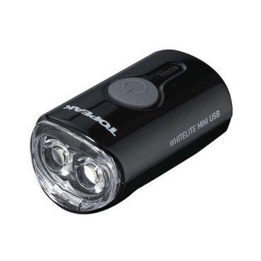 Передний габаритный фонарь с зарядкой TOPEAK WhiteLite Mini USB, черный, TMS079BФары и фонари для велосипеда<br>Передний габаритный фонарь с зарядкой от USB (пластик)<br>