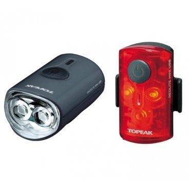 Комплект габаритных фонарей с зарядкой TOPEAK Mini Combo USB, TMS080Фары и фонари для велосипеда<br>Комплект габаритных фонарей с зарядкой от USB (пластик)<br>