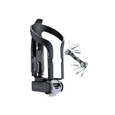 Флягодержатель с инструментом Topeak Ninja TC-Road intergrated cage &amp; tire lever, tool box, TNJ-TCRФляги и Флягодержатели<br>Флягодержатель со скрытым встроенным боксом для инструментов и скрытым инструментом, к которому легко получить доступ простым поворотом. Мягкий, обработанный профиль инструмента удобен в руках и включает в себя 2 / 2,5 / 3/4/5/6 мм торцовые ключи, головку Phillips и торцевые ключи T25 Torx для точной настройки. Так же в комплект входят монтажки для покрышек.<br><br>В комплект входят: мультитул Topeak Ninja T8+<br>Инструменты: 8 всего<br>Шестигранники: 2 / 2,5 / 3/4/5/6 мм<br>Torx®: T25<br>Отвертки: Phillips<br>Материал ключей: Закалённая сталь<br>Размер: 17.5 x 8.3 x 7.8 cm<br>Вес: 169 гр<br>Материал флягодержателя: Engineering grade plastic<br>