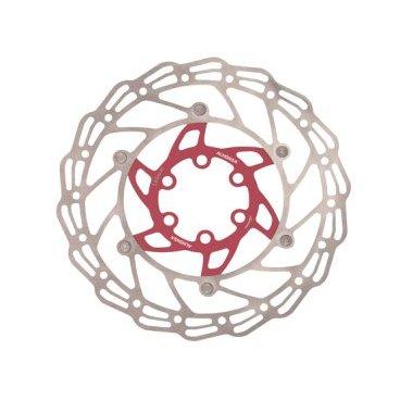 Диск тормозной ALHONGA, 140 мм, сталь, серебристый/красный, с болтами, HJ-DXR1407-RDТормоза на велосипед<br>Alhonga диск тормозной 140мм нержавеющая сталь серебристый/красный с болтами<br>