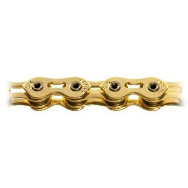 Цепь КМС K810SL, 1 скорость, 1/2x3/32Х110, золотая, суперлёгкая, полые пины, K810SLВелосипедная цепь<br>Кmc цепь K810SL, 1 скорость, 1/2x3/32Х110, золотая, в торговой упаковке. Суперлёгкая, полые пины, низкое растяжение, повышенная прочность, защита от спадания<br>