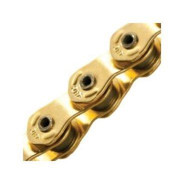 Цепь КМС HL710L, 1 скорость, 1/2x1/8Х100, халфлинковая, золотая, полые пины, HL710LВелосипедная цепь<br>Кmc цепь HL710L, 1 скорость, 1/2x1/8Х100, халфлинковая, золотая, в торговой упаковке. Полые пины<br>