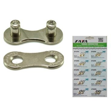 Соединительное звено цепи TAYA, 9 скоростей, 1/2x5/64, 1 комплект, 10 блистеров/карточка, SC-20Велосипедная цепь<br>Taya соединительное звено цепи 9 скоростей, 1/2x5/64, 1 комплект/блистер, 10 блистеров/карточка, серебристое<br>