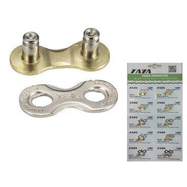 Соединительное звено цепи TAYA, 7/ 8 скоростей, 1/2x3/32, 1 комплект/блистер, SC-23Велосипедная цепь<br>Taya соединительное звено цепи 7/ 8 скоростей, 1/2x3/32, 1 комплект/блистер, 10 блистеров/карточка, серебристое<br>