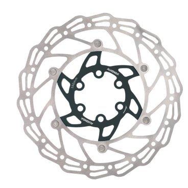 Диск тормозной ALHONGA, 140мм, нержавеющая сталь, серебристый/чёрный, с болтами, HJ-DXR1407-BKТормоза на велосипед<br>Alhonga диск тормозной 140мм нержавеющая сталь серебристый/чёрный с болтами<br>