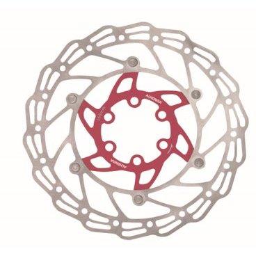 Диск тормозной ALHONGA, 180мм, нержавеющая сталь, серебристый/красный, с болтами, HJ-DXR1807-RDТормоза на велосипед<br>Alhonga диск тормозной 180мм нержавеющая сталь серебристый/красный с болтами<br>