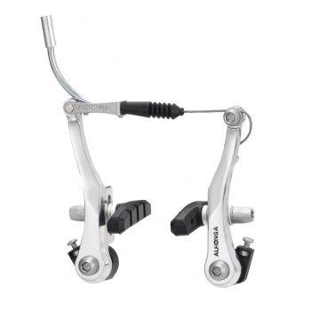 Тормоза ALHONGA V-brake HJ-622AD7 для детских, складных, ВМХ, алюминий, рамки 95мм, HJ-622AD7Тормоза на велосипед<br>ALHONGA Тормоза V-brake HJ-622AD7 для детских, складных, ВМХ, алюминий, рамки 95мм, пружина линейная, серебряные, с колодками HJ-601.12 (60мм), 180г/колесо, пер.+зад.<br>