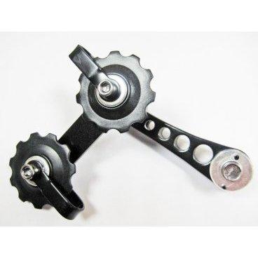 Натяжитель цепи MR.CONTROL SSP-12-1, на двух роликах, чёрныйПереключатели скоростей на велосипед<br>Оптимальное натяжение – залог успешной и длительной работы всего трансмиссионного агрегата. Многие владельцы байков самостоятельно изменяют степень жесткости путем съема или добавления звеньев. Однако существует и специальное устройство – натяжитель цепи, которое автономно управляет жесткостью и помогает велосипедисту избавиться от лишней возни.<br><br>Натяжитель цепи MR.CONTROL SSP-12-1<br>На двух роликах<br>Чёрный<br>На петух вместо переключателя скоростей для singlspeed<br>